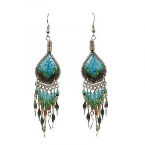 Teardrop-shaped silk thread earrings with long seed bead and alpaca silver metal dangles in turquoise, green, and brown color combination.