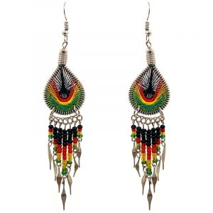 Teardrop-shaped silk thread earrings with long seed bead and alpaca silver metal dangles in Rasta colors.
