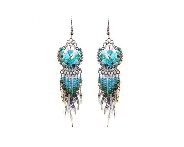 Round-shaped semicircle silk thread earrings with long seed bead and alpaca silver metal dangles in turquoise, green, and brown color combination.