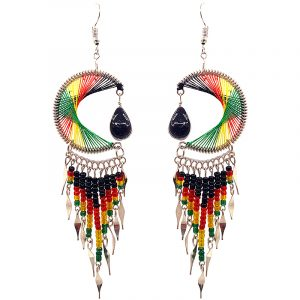 Large round-shaped semicircle crescent half moon silk thread earrings with teardrop glass bead dangle and long seed bead and alpaca silver metal dangles in Rasta colors.