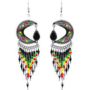 Large round-shaped semicircle crescent half moon beaded silk thread earrings with teardrop glass bead dangle and long seed bead and alpaca silver metal dangles in Rasta colors.