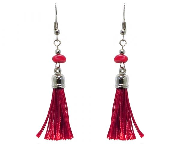 Silk thread tassel dangle earrings with chip stone in red color.