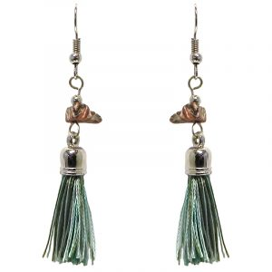 Silk thread tassel dangle earrings with chip stone in mint, brown, olive green, and gray color combination.