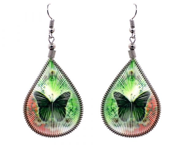 Teardrop-shaped thread dangle earrings with alpaca silver wire and monarch butterfly graphic image in green and orange color combination.