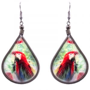 Teardrop-shaped thread dangle earrings with alpaca silver wire and scarlet macaw parrot graphic image in red, green, and multicolored color combination.