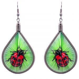 Teardrop-shaped thread dangle earrings with alpaca silver wire and ladybug graphic image in lime green, red, and black color combination.