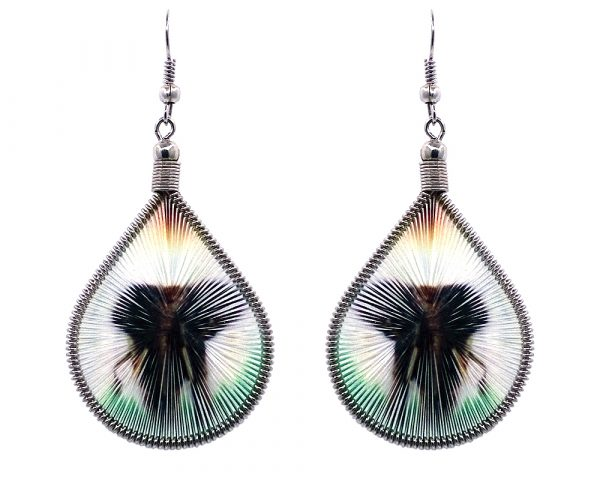 Teardrop-shaped thread dangle earrings with alpaca silver wire and elephant graphic image in green, white, and dark brown color combination.