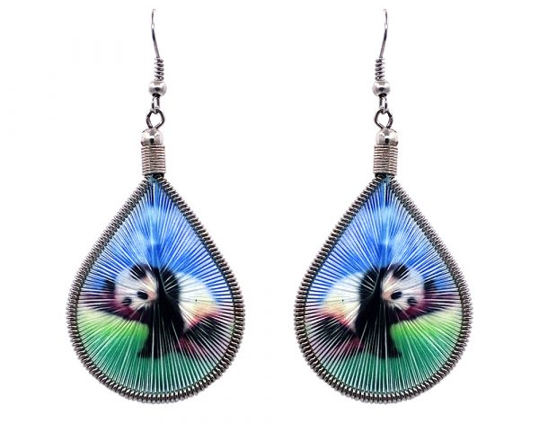 Teardrop-shaped thread dangle earrings with alpaca silver wire and black and white panda bear graphic image in blue and green color combination.