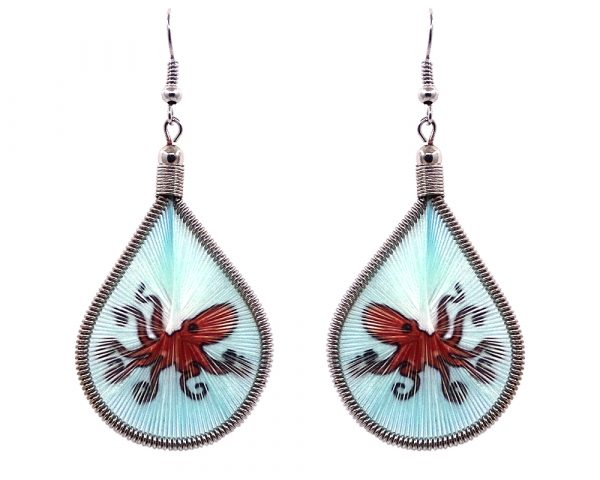 Teardrop-shaped thread dangle earrings with alpaca silver wire and octopus graphic image dark orange and light blue turquoise color combination.