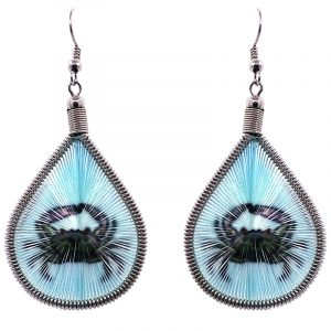 Teardrop-shaped thread dangle earrings with alpaca silver wire and crab graphic image dark gray and light blue turquoise color combination.