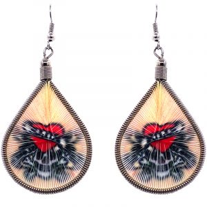 Teardrop-shaped thread dangle earrings with alpaca silver wire and skull heart tattoo graphic image in peach, red, black, and white color combination.