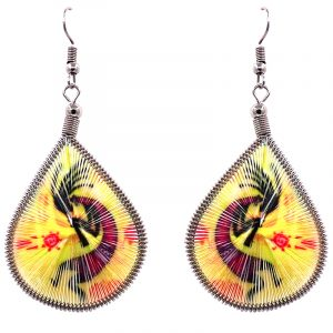 Teardrop-shaped thread dangle earrings with alpaca silver wire and Southwest Kokopelli graphic image yellow, hot pink, and black color combination.