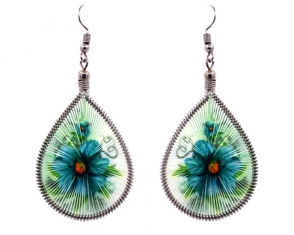 Teardrop-shaped thread dangle earrings with alpaca silver wire and flower graphic image teal and lime green color combination.