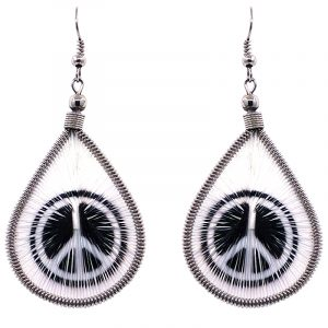 Teardrop-shaped thread dangle earrings with alpaca silver wire and peace sign graphic image in white and black color combination.