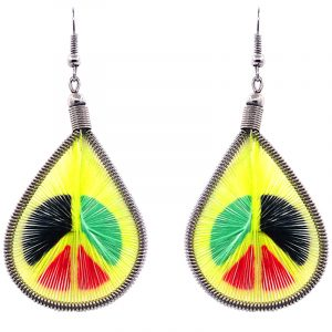 Teardrop-shaped thread dangle earrings with alpaca silver wire and peace sign graphic image in yellow and Rasta color combination.