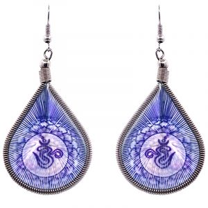 Teardrop-shaped thread dangle earrings with alpaca silver wire and om sign graphic image in blue and white color combination.