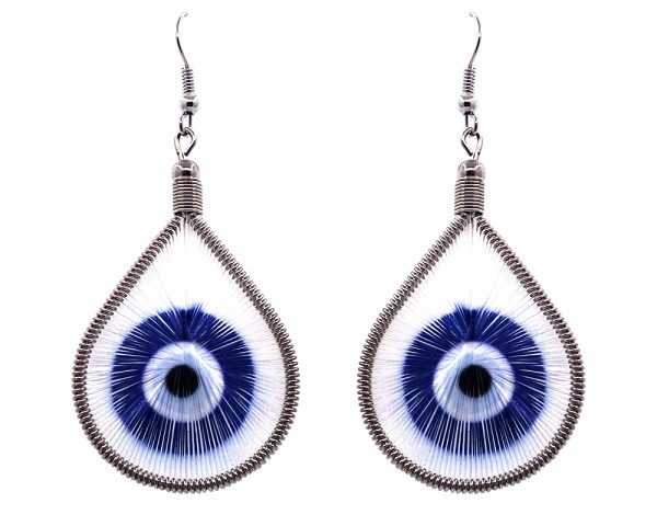 Teardrop-shaped thread dangle earrings with alpaca silver wire and evil eye graphic image in blue and white color combination.