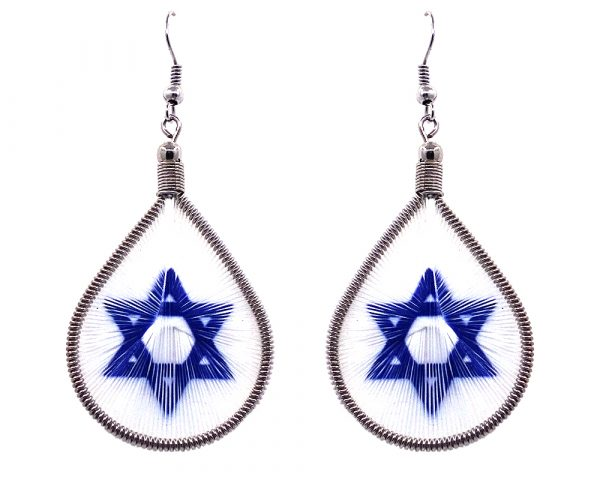 Teardrop-shaped thread dangle earrings with alpaca silver wire and star of David graphic image in blue and white color combination.