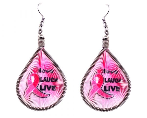 Teardrop-shaped thread dangle earrings with alpaca silver wire and breast cancer awareness graphic image in pink and black color combination.