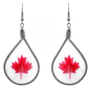 Teardrop-shaped thread dangle earrings with alpaca silver wire and Canadian flag maple leaf graphic image in white and red color combination.