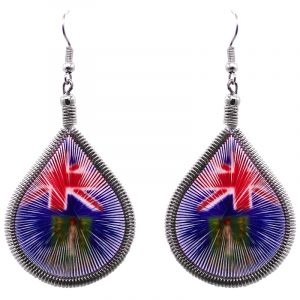Teardrop-shaped thread dangle earrings with alpaca silver wire and British Virgin Islands flag graphic image.