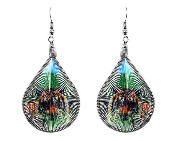 Teardrop-shaped thread dangle earrings with alpaca silver wire and tiger graphic image in green, orange, and light blue color combination.