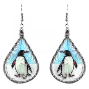 Teardrop-shaped thread dangle earrings with alpaca silver wire and penguin graphic image in light blue, white, and black color combination.