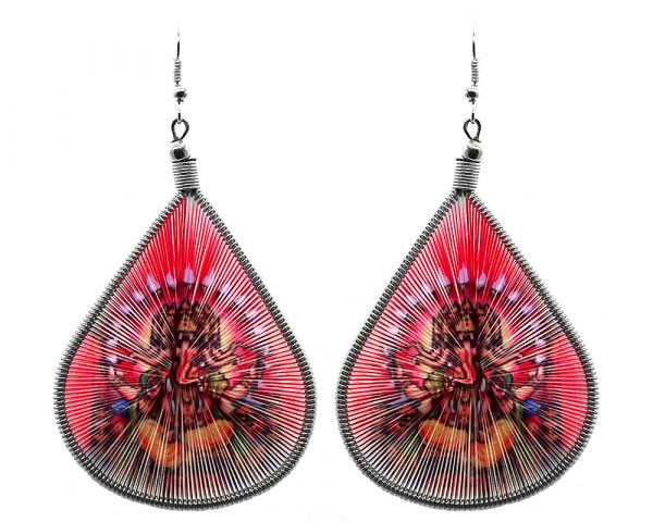 Large teardrop thread earrings with alpaca silver wire and graphic image in red and multicolored color combination.