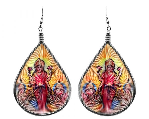 Large teardrop-shaped thread dangle earrings with alpaca silver wire and Parvati goddess graphic image in golden yellow and multicolored color combination.