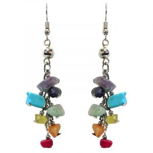 Chip stone and alpaca silver metal dangle earrings in rainbow colors.