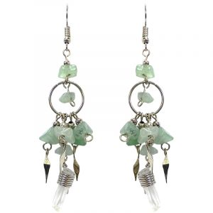 Chip stone and alpaca silver metal hoop earrings with long clear quartz crystal point dangle in light green aventurine.