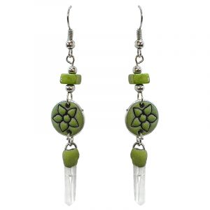 Handmade round-shaped durepox resin earrings with flower design, chip stone, and clear quartz crystal point dangle in lime green color.