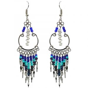 Handmade wire wrapped clear quartz crystal point metal hoop earrings with long seed bead and alpaca silver metal dangles in blue, turquoise, and iridescent black color combination.