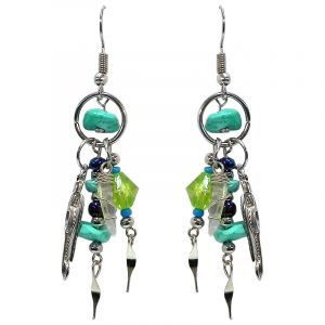 Handmade chip stone and alpaca silver metal mini hoop earrings with feather charm, wire wrapped clear quartz crystal, seed bead, and crystal bead dangles in turquoise, mint, lime green, and dark blue color combination.