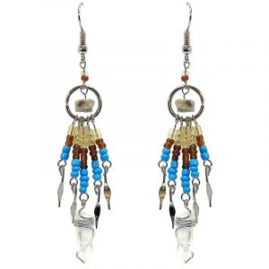 Handmade chip stone mini silver metal hoop earrings with long seed bead and wire wrapped clear quartz crystal point dangles in gold, brown, and turquoise blue color combination.