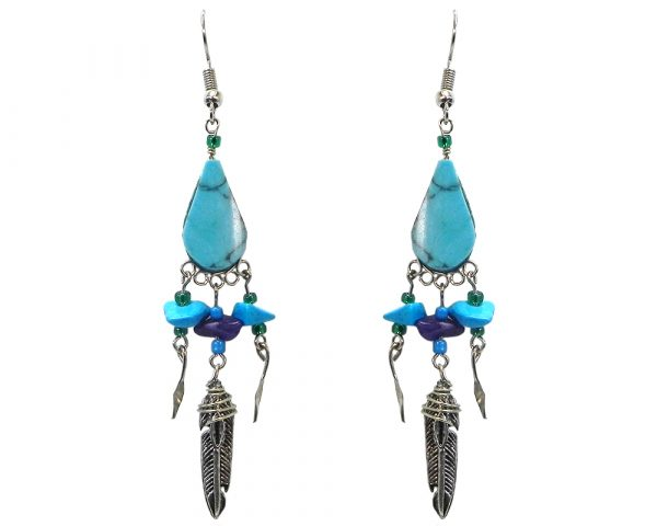 Teardrop-cut stone earrings with three chip stones, seed beads, alpaca silver metal, and long silver feather charm dangle in turquoise.