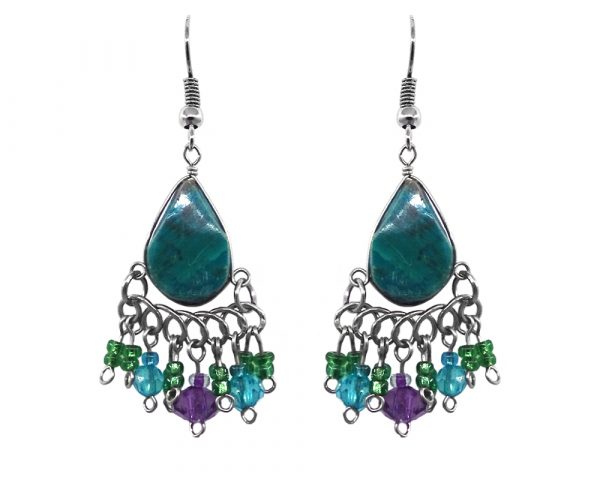 Teardrop-cut chrysocolla stone earrings with multicolored crystal bead, seed beads, and alpaca silver metal dangles in turquoise, purple, and green color combination.