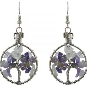 Handmade round silver metal wire wrapped chip stone tree of life dangle earrings in purple amethyst color.