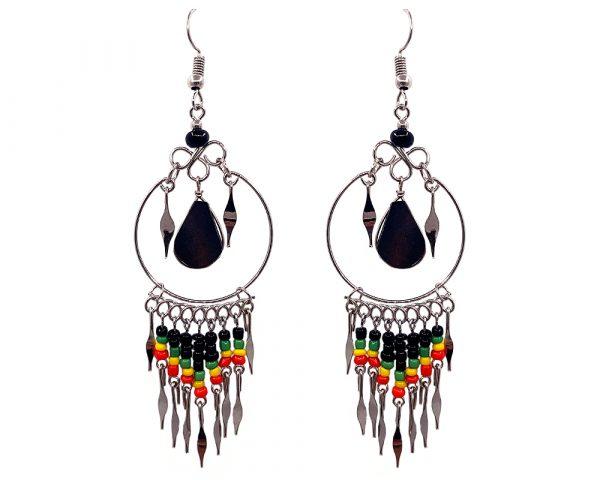 Teardrop-cut black onyx stone and alpaca silver metal hoop earrings with seed bead and metal dangles in Rasta colors.