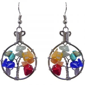 Round silver metal wire wrapped chip stone tree of life dangle earrings in rainbow chakra colors.