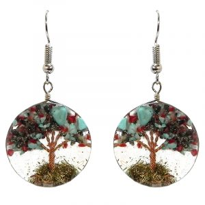 Round-shaped clear acrylic resin, copper wire, and crushed chip stone inlay tree of life dangle earrings in turquoise blue, red, and silver pyrite color combination.