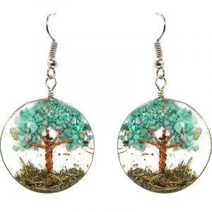Round-shaped clear acrylic resin, copper wire, and crushed chip stone inlay tree of life dangle earrings in turquoise blue howlite.