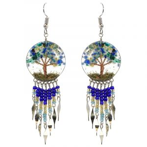 Handmade round-shaped clear acrylic resin, copper wire, and crushed chip stone inlay tree of life dangle earrings with long seed bead and alpaca silver metal dangles in blue, gold, turquoise, and teal green color combination.