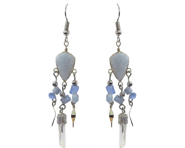 Teardrop-cut stone earrings with chip stones, alpaca silver metal, and long clear quartz crystal point dangle in light blue angelite.