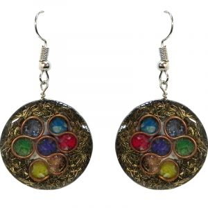 Round-shaped acrylic resin, copper metal wire, and crushed chip stone inlay orgonite dangle earrings with 7 chakra rainbow circle pattern.