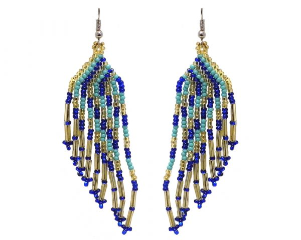 Long multicolored Czech glass seed bead angel wing-shaped fringe dangle earrings in blue, mint turquoise, and gold color combination.