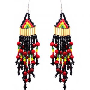 Extra long bamboo, Czech glass seed bead, and huayruro seed earrings in Rasta colors.