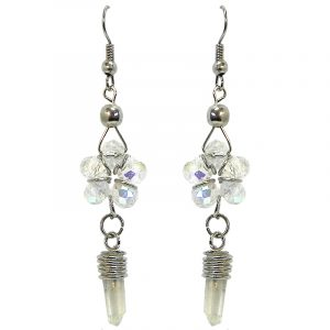 Crystal bead flower earrings with a clear quartz crystal point dangle in iridescent white color.