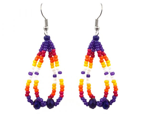 Native American inspired teardrop-shaped double strand seed bead earrings with crystal beads in dark purple, red, orange, yellow, and white color combination.