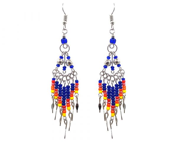 Native American inspired double metal bead earrings with long seed bead and alpaca silver metal dangles in royal blue, yellow, orange, and red color combination.